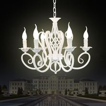Christmas European Fashion Vintage Chandelier Ceiling lamp 6 Candle Lights Lighting Fixtures Iron Black/White Home Lighting E14