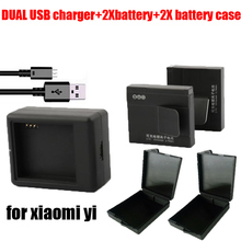 New 2pcs original 1010maH xiaomi bateria Xiaoyi yi Camera battery + USB charger 3.7V sport xiaomi Xiaoyi Sport camera Accessory