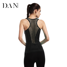 DANENJOY Womens Yoga T Shirts Yoga Tank Tops Hollow Back Top Gym Jogging Vest Female Running Top Fitness Sport Dry Quick Yoga