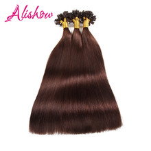 Alishow Keratin Human Fusion Hair U Tip Remy Hair Extension 16inch 1g/s 100g Dark Brown Indian Straight Nail Hair On Capsules(China)