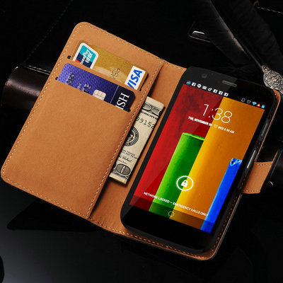 Case For Motorola Moto G Flip Wallet Genuine Leather Stand Phone Bag For Motorola Moto G Case Cover with Card Slot(China)