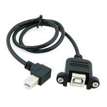 90 Degree Right Angled USB B Type Male to Female extension cable with screws for Panel Mount 50cm 100cm / 3ft(China)