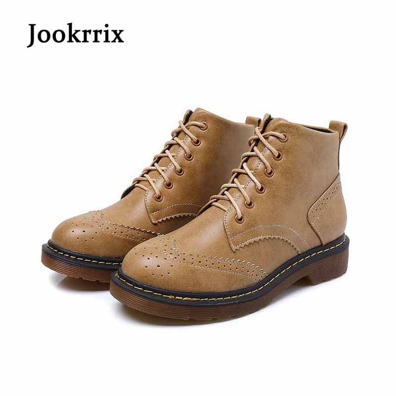 Jookrrix Autumn Winter Fashion British Style Boot Retro Shoe Women Brand Lady Ankle Boots Warm Martin Boot Lace Up Black Bullock<br>