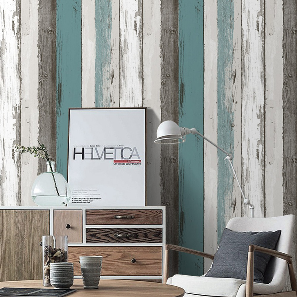 Wood Panel Peel and Stick Wallpaper 23.6 x 19.7ft Blue/Black/Off White Self Adhesive Contact Wall Decoration <br>