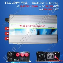 Hot Sale!Micro home wind invertor/inverter on grid 300W 24v with Pure Sine Wave AC input(China)