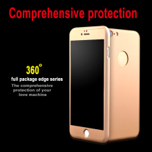 Ultra thin full body Complete coverage of 360 degrees cream protect coque Case For iPhone7 6 i6S i5s SE plus Tempered Glass Film