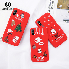Funda para teléfono Lovebay para iPhone 6 6 s 7 8 Plus X XR XS Max Cute Cartoon Navidad Santa Claus Elk Soft TPU para iPhone 5 5S SE funda(China)