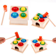 Pudcoco Newborn Colorful Hammering Wooden Ball Hammer Box Geometric Blocks Kids Early Learning Educational Toys Children Toy