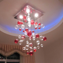 New Modern Romantic Transparent Red Bubble Ceiling Lighting LED GU10 Bulbs Light Fixture Flush Mount Lamp LD120(China)