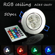 50pcs/lot RGB remote control LED ceiling lamp 7 colour spotlight bulb  Setting wall KTV  atmosphere AC85-265V 3w diverse styles