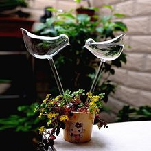 2pcs Bird Shape Design Hand Blown Clear Glass Self Automatic  Watering Aqua Globes Plant Watering Bulbs Flowers Irrigation Tool