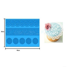 Hoomall Decorative Flower Sugar Silicone Lace Mold Cake Baking Mould Mats Blue Cake Decorating Tools Bakeware(China)