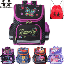 wenjie brother Kids butterfly Schoolbag Backpack EVA Folded Orthopedic Children School Bags For Boys and girls Mochila Infantil(China)