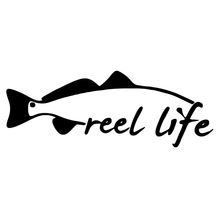 HotMeiNi Reel life fishing red fish Car Decals Removable Die Cut Vinyl Laptop Sticker