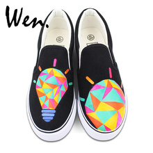 Wen Original Design Colorful Lamp Bulb Hand Painted Shoes Black Slip On Canvas Sneakers for Man Woman's Gifts Presents(China)