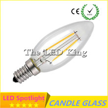 Super Bright New Design LED Filament E14 Bulb 6W 12W AC 220V Dimmable Lamp Edison Glass Candle Lights Lighting For Chandelier