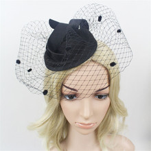 Women Girl Party Fascinator Wedding Hats Veil Vintage England Cloth Red Black Headdresses Cocktail Hat For Hair Accessories