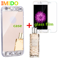 IMIDO Hillsionly Freeshipping! Bling Diamond smartph Mirror Back Soft celula Case+film  For iPhone6/6S 4.7inch for iphone7 7plus