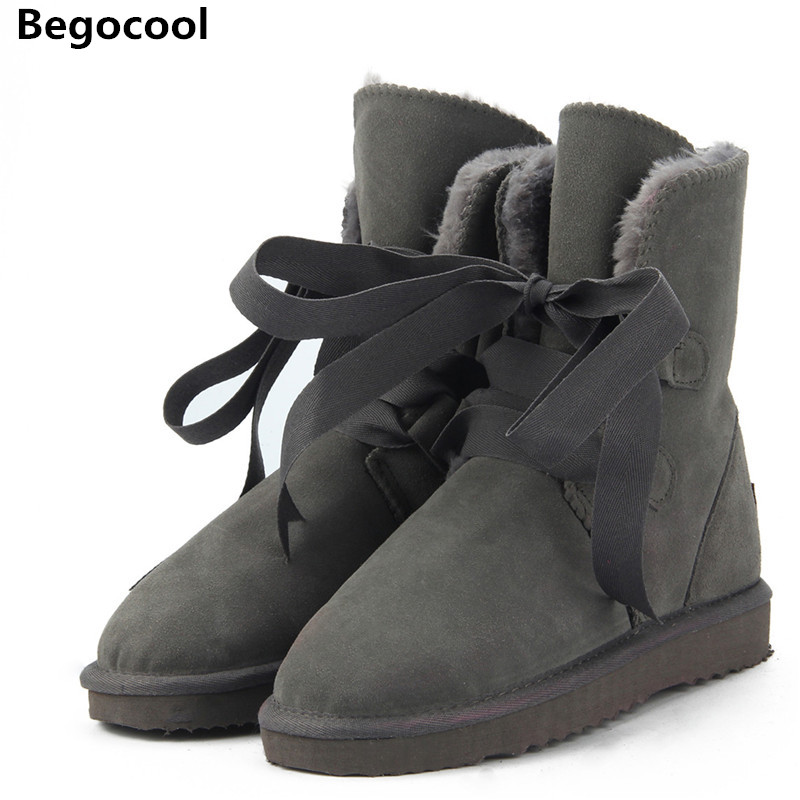 Begocool New Top Quality Fashion Women Snow Boots Genuine Leather Winter Boots UG Warm Women Boots 12 Colour shoes US 3.5-13<br>