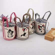 M310 2017 Canvas Printing Women Hand Bag Cute Cat Patterns Summer Bag Beach Bag Shopping Bag(China)