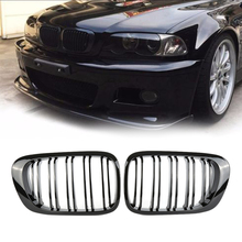 Fit for BMW E46 318I 320I 325I 330I 1998-2002 Front Air Intake Grill Bumper Kidney Grilles Car Grille Kidney Gloss Black