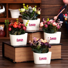 L-O-V-E Plant Ceramic Vase Artificial Flower Crafts Green Decoration Floral for Home Banquet Wedding Party Flowers decor