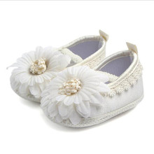 Lovely Flower Baby Shoes Infants Soft Sole Crib Shoes Girls Princess Shoes First Walkers(China)
