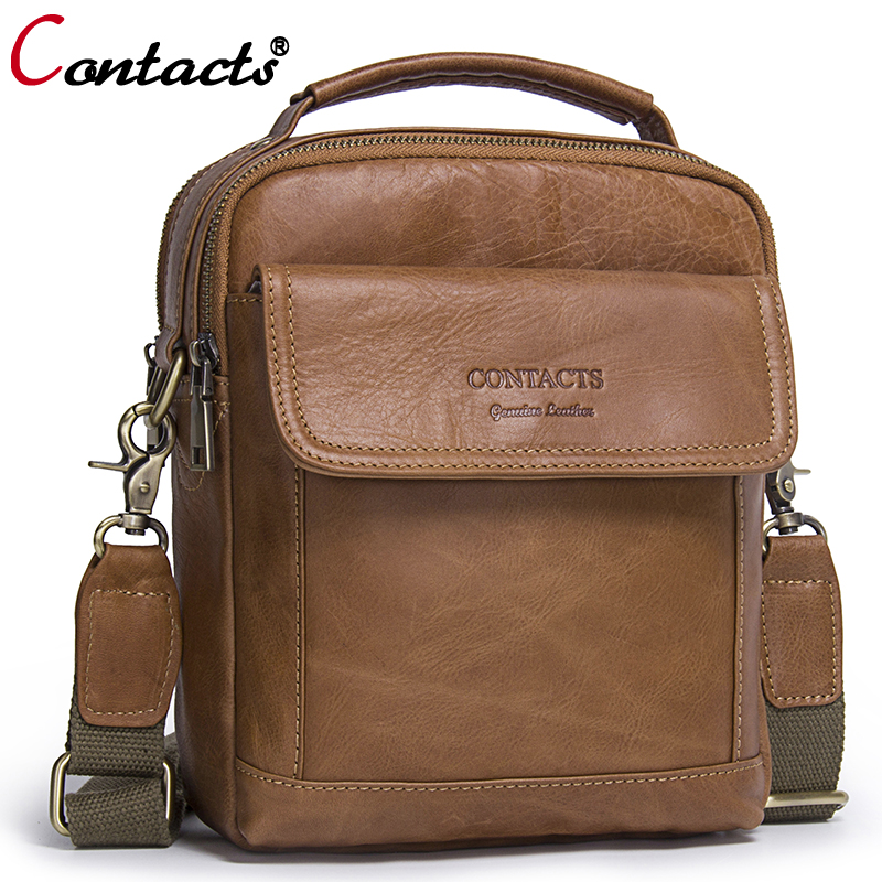 CONTACTS Men bag Fashion Genuine Leather Men Shoulder Bags handbag High Quality Casual Messenger Bag Business Mens Travel Bags<br>