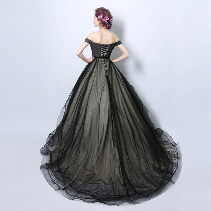 buy Black Ball Gown Evening Dress Ball with Pleats