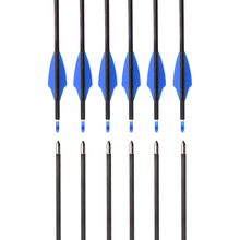"6Pcs 100% Pure Carbon Arrow 30"" ID4.2mm Spine 300-900 Fix Bullet Point Race Shooting Indoor Outdoor Archery Bow Free Shipping(China)"