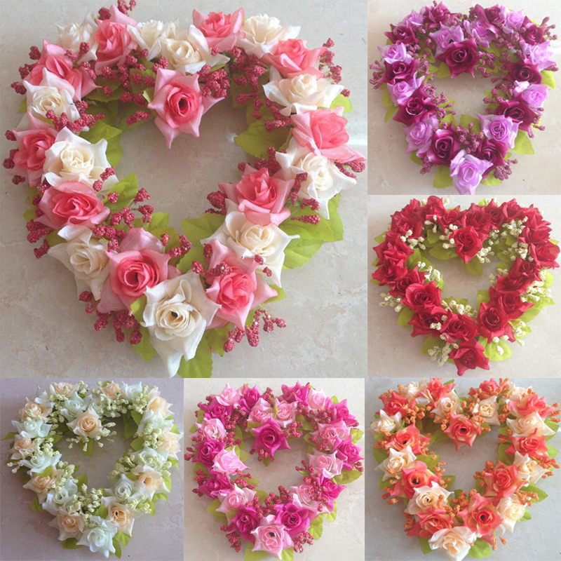 22cm heartshape Flower Wreaths wedding marriage party decorations bride cars decoration flower event party supplies door rosette(China)