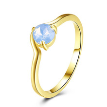 Simple Charm Gold Color Rings For Women Party Romantic Light Blue Opal Ring Generous Elegant Lady Gift Jewerly SL
