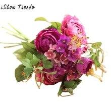 2017 Hot Sale Artificial Fake Flowers Land Lotus Floral Wedding Bouquet Party Home Decor Elegant Calla