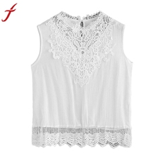 Women Lace Camis Blouse Sexy White Shirt Sleeveless Crop Top Vest Tank Blouse Cami Big Size Blusas Bordadas Cheap Clothes China(China)
