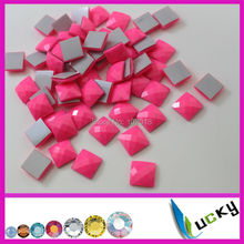 1440PCS 10mm square shape neon pink color KOREAN quality hotfix epoxy flatback pearl rhinestone perfect faceted look(China)