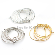 100pcs/lot 25mm silver/gold/rhodium Earring clips ladies round loop hoop circle earrings wire hooks diy jewelry material F2399(China)