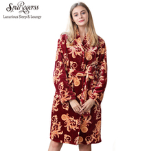 SpaRogerss Women Winter Robes 2017 Coral Fleece Long Sleeved Lady Autumn Bathrobe Home Clothing Bathrobes New Sleep Lounge FR507(China)