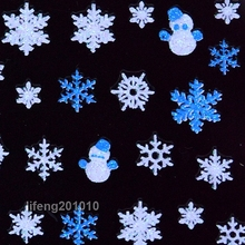 2PCS Christmas 3D Nail Art Stickers Decals Nail Decorations Glitter Snowflake Snowman Design Blue White SN103(China)