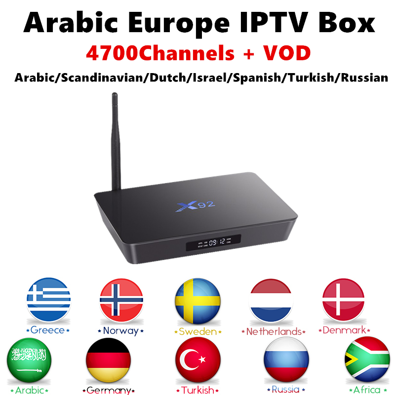 Arabic IPTV Android TV Box X92 4K H.265 Europe Swedish IPTV Subscription Nordic Persian Russian Germany PayTV Smart IP TV Box