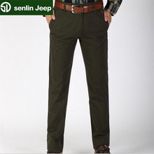 SenLin AFS JEEP 100% Cotton Autumn Man's Casual Worker's Working Pants,Mid Waist Military Straight Trousers,44/42 Big Size Pant