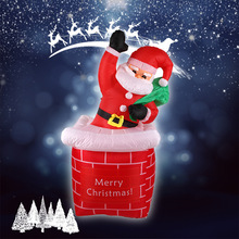 1.8M Christmas Inflatable Santa Claus Rising From Chimney Outdoor Yard Decoration For Christmas party Toy