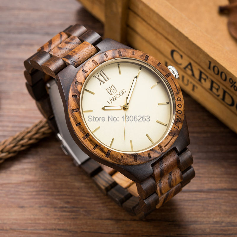 5 Colors Available 47.5mm Men Size Quality Wood Watch Gold Japan Import  Movement Watch Wood Gold<br>