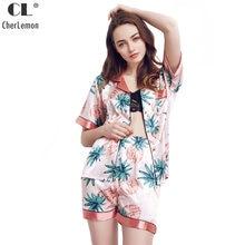 CherLemon Womens Satin Sleepwear Summer Short Sleeve Button Down Pajama Set  Female Refreshing Pineapple Printed Nightwear M-XL c08483ac8
