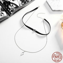100% 925 Sterling Silver Trendy Double Layer Black Braid Heart & Geometric Choker Chocker Collar Necklace Jewelry Gift GXN082(China)