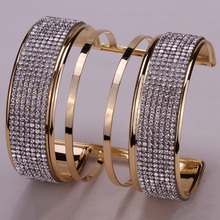 Long bracelet cuff for women cute jewelry gifts W/ crystal silver and gold color punk rock jewelry BM21 wholesale dropship(China)