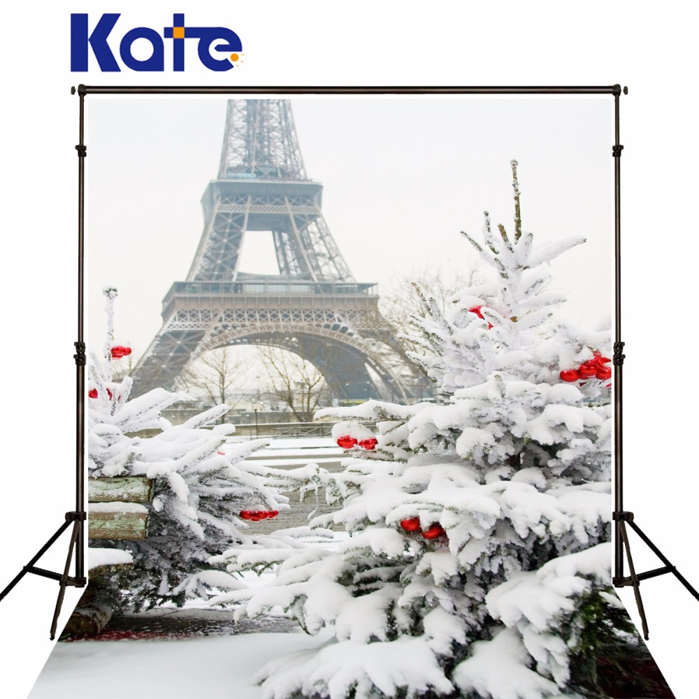 Kate Christmas Tree No Wrinkles Backdrop Winter Frozen Snow Background Photography Eiffel Tower White Photo Studio<br>