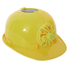 Men Women Yellow Solar Energy Safety Helmet Hard Ventilate Hat Cap Cooling Cool Fan Head Protect Equipment Protector