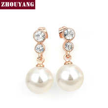 Top Quality ZYE326 Elegant Grace Imitation Pearl Rose Gold Color Drop Earrings Austrian Crystal Wholesale(China)