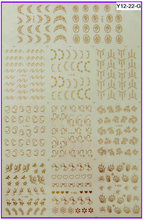 11 PACKS / LOT Gold / Silver Nail Art Water Transfers Stickers Metallic Nail Decals French Smile Lace Flower Y012-022(China)