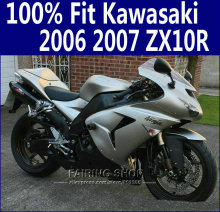 Hot sale Aftermarket Fairings kits zx10r 2006 2007 For Kawasaki Ninja Fairing kit 07 06 (silver) Customfree x42